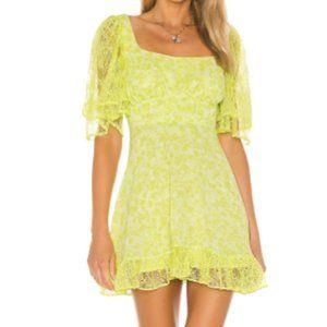 Romana Mini Green Floral Dress with Lace Hem NWT